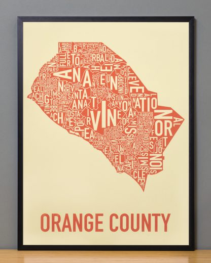 Orange County Type Map Tan Print in Black Frame