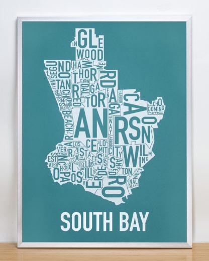 South Bay artwork Teal Print in Silver Frame