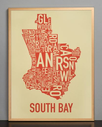 South Bay california map Tan Print in Bronze Frame
