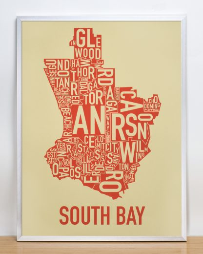 South Bay neighborhoods map Tan Print in Silver Frame