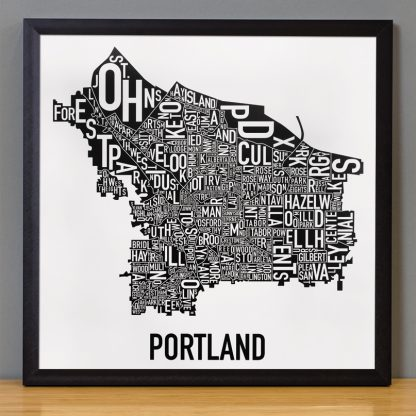 Portland Neighborhoods Map Black and White Poster in black frame