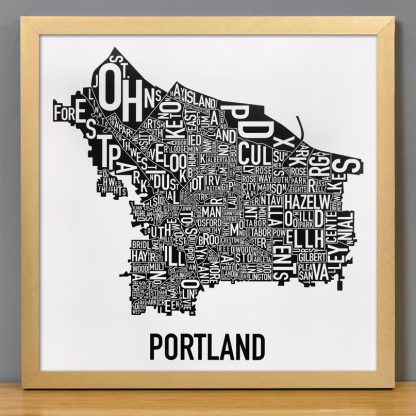 Portland Wall Art Black and White Typography Poster in gold frame