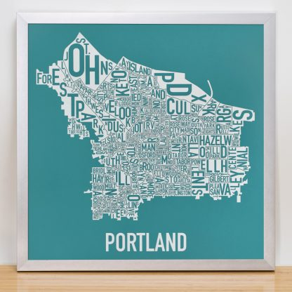 Portland Typographic Map Teal Print in Silver Frame