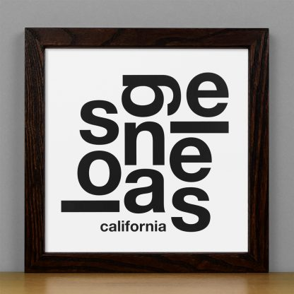 "Framed Los Angeles Fun With Type Mini Print, 8"" x 8"", White & Black in Dark Wood Frame"