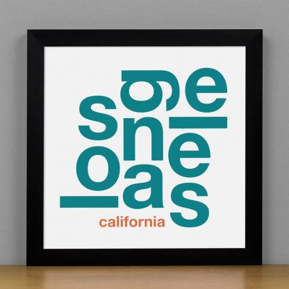 "Framed Los Angeles Fun With Type Mini Print, 8"" x 8"", White & Teal in Black Frame"