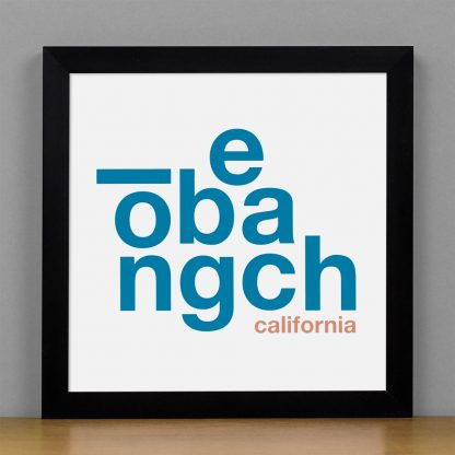 "Framed Long Beach Fun With Type Mini Print, 8"" x 8"", White & Blue in Black Frame"