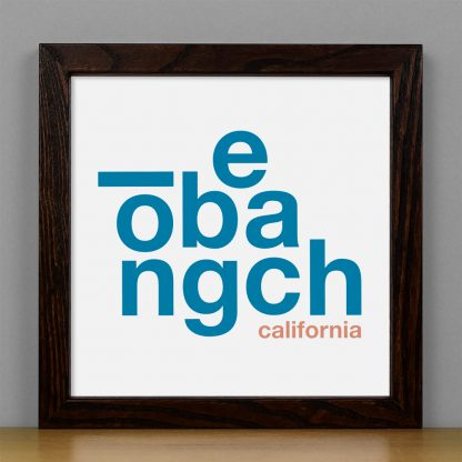 "Framed Long Beach Fun With Type Mini Print, 8"" x 8"", White & Blue in Dark Wood Frame"