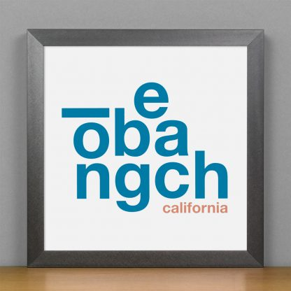"Framed Long Beach Fun With Type Mini Print, 8"" x 8"", White & Blue in Steel Grey Frame"