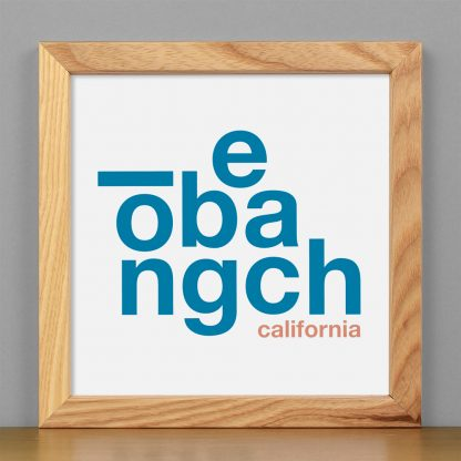 "Framed Long Beach Fun With Type Mini Print, 8"" x 8"", White & Blue in Light Wood Frame"