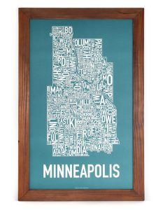 "Framed Minneapolis Poster, 16"" x 26"", Teal & White in Rustic Wood Frame"