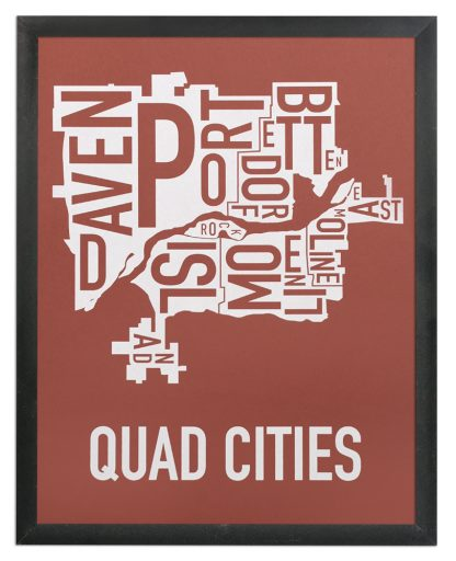 """Framed Quad Cities Iowa Typography Map, Brick Red & White, 11"""" x 14"""" in Black Frame"""