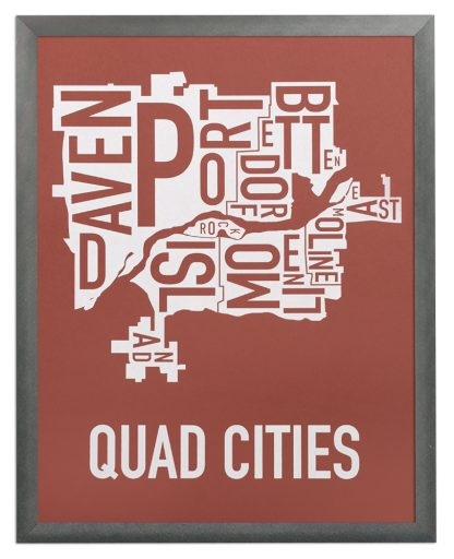"""Framed Quad Cities Iowa Typography Map, Brick Red & White, 11"""" x 14"""" in Grey Frame"""