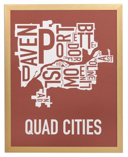 """Framed Quad Cities Iowa Typography Map, Brick Red & White, 11"""" x 14"""" in Bronze Frame"""