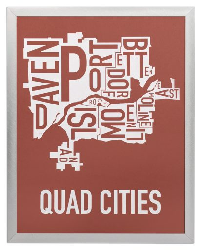 """Framed Quad Cities Iowa Typography Map, Brick Red & White, 11"""" x 14"""" in Silver Frame"""