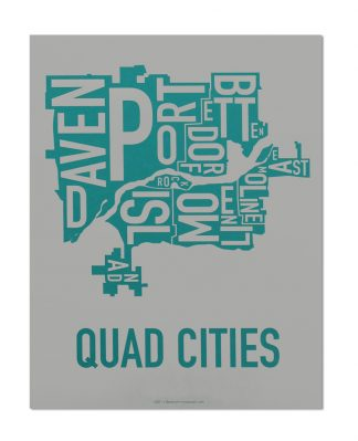 "Quad Cities Iowa Typography Map, Grey & Teal, 11"" x 14"""