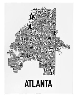 "Atlanta Neighborhood Map Poster, 18"" x 24"", Classic B&W"
