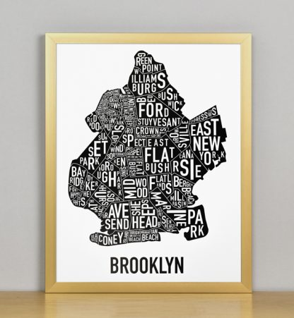 "Framed Boston Typographic Neighborhood Map Poster, B&W, 11"" x 14"" in Bronze Frame"