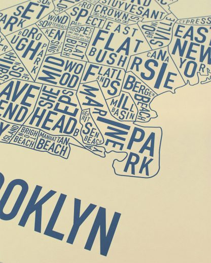 "Brooklyn New York Neighborhood Poster, Tan & Navy, 18"" x 24"""
