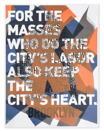 Brooklyn Neighborhood Map 10th Anniversary Print, Collaboration with Dan Elliot