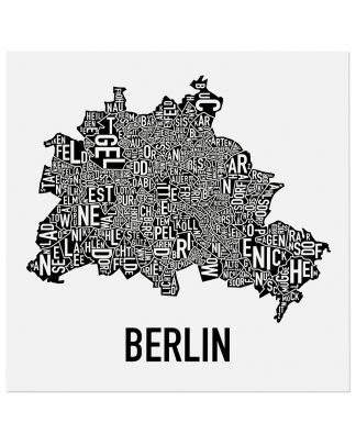 "Berlin Germany Neighborhood Poster, Classic B&W, 20"" x 20"""