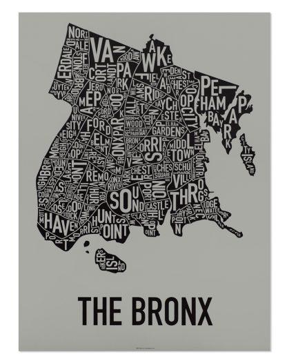 """Bronx New York Neighborhood Screenprint, Grey & Black, 18"""" x 24"""""""