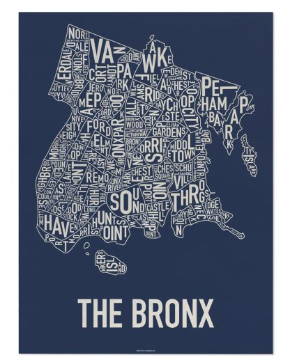 "Bronx Neighborhood Map Poster, Navy & Cream, 18"" x 24"""