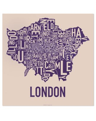 "London Borroughs Map Poster, Tan & Indigo, 18"" x 18"""