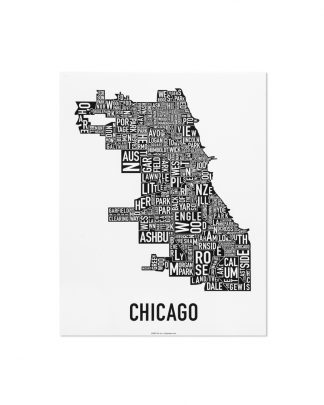 "Chicago Neighborhood Map Poster, Classic B&W, 11"" x 14"""