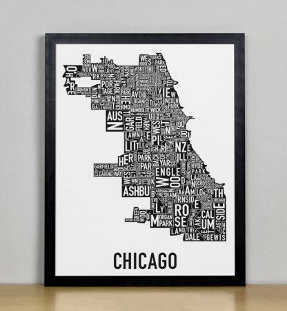 "Framed Chicago Typographic Neighborhood Map Poster, B&W, 11"" x 14"" in Black Frame"