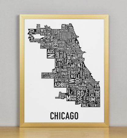 """Framed Chicago Typographic Neighborhood Map Poster, B&W, 11"""" x 14"""" in Bronze Frame"""
