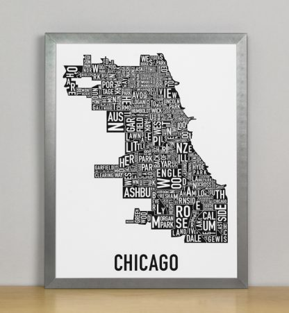 """Framed Chicago Typographic Neighborhood Map Poster, B&W, 11"""" x 14"""" in Grey Frame"""
