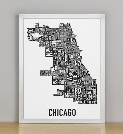 """Framed Chicago Typographic Neighborhood Map Poster, B&W, 11"""" x 14"""" in Silver Frame"""