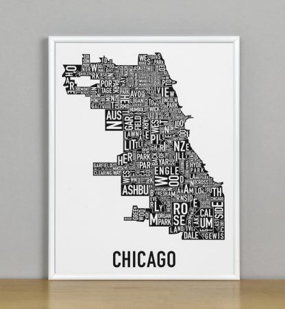 """Framed Chicago Typographic Neighborhood Map Poster, B&W, 11"""" x 14"""" in White Metal Frame"""