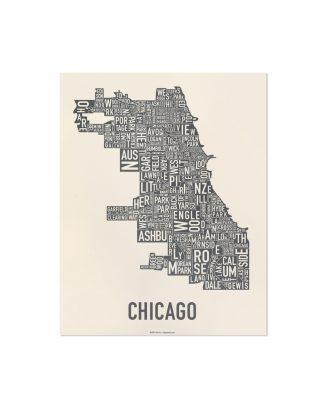 "Chicago Neighborhood Map Screenprint, Ivory & Grey, 11"" x 14"""