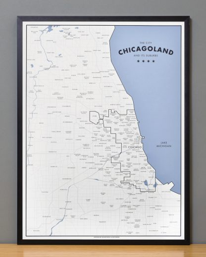 "Framed Chicagoland Map Print by Ork Posters, 18"" x 24"" in Black Frame"