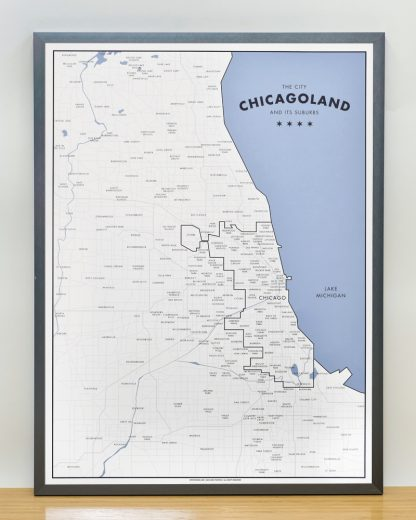 "Framed Chicagoland Map Print by Ork Posters, 18"" x 24"" in Steel Grey Frame"
