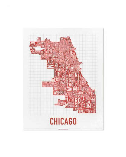 "Chicago Neighborhood Map Poster, Spicy Red, 11"" x 14"""