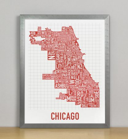 "Framed Chicago Typographic Neighborhood Map Poster, Spicy Red, 11"" x 14"" in Grey Frame"