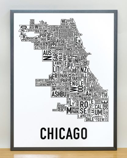 Chicago Map in Grey Frame