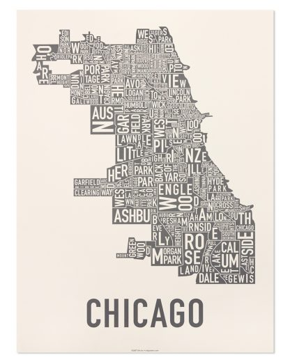 "Chicago Neighborhood Map Poster, Ivory & Grey, 18"" x 24"""