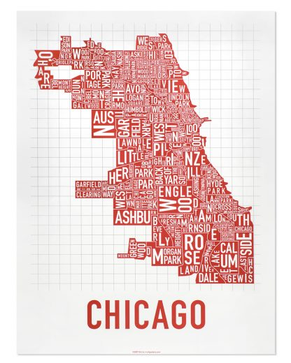 """Chicago Neighborhood Map Poster, Spicy Red, 18"""" x 24"""""""