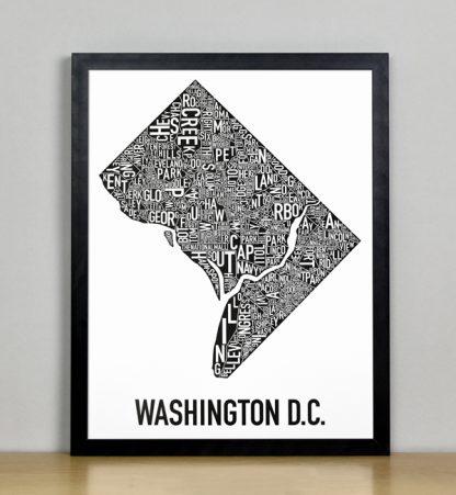"Framed Washington DC Typographic Neighborhood Map Poster, B&W, 11"" x 14"" in Black Frame"