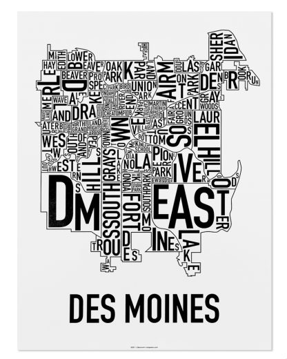 """Des Moines Neighborhood Poster, Classic B&W, 18"""" x 24"""""""