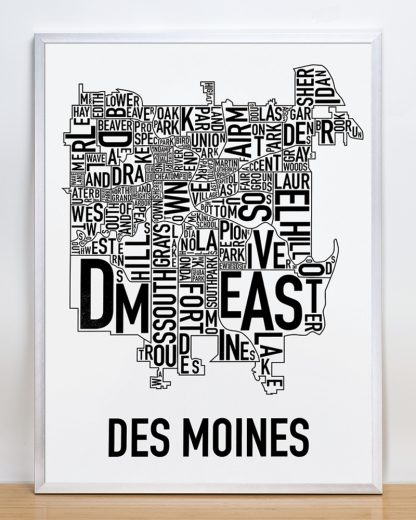 """Framed Des Moines Neighborhood Poster, Classic B&W, 18"""" x 24"""" in Silver Frame"""