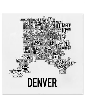 "Denver Neighborhood Map, Classic B&W, 18"" x 18"""