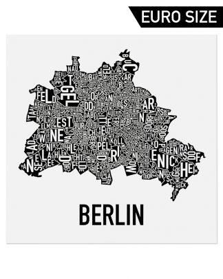 "Berlin Germany Neighborhood Poster, Nachbarschaft Karte, Classic B&W, 20"" x 20"""