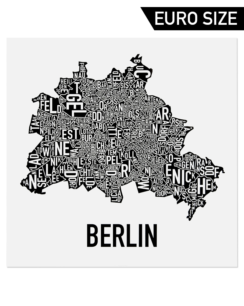 Berlin Neighborhood Map 50cm X 50cm Classic Black Amp White