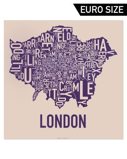 Greater London Borroughs Poster, Cream & Indigo, 50cm x 50cm