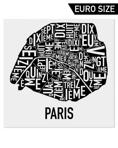 Paris Arrondissements Map, Classic B&W, 50cm x 50cm