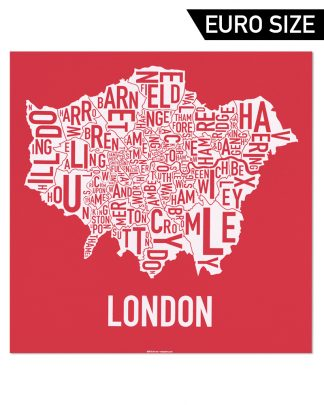 Greater London Borroughs Map, Red & White, 50cm x 50cm